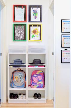 An easy and functional school bag storage station with room for bags, hats, shoes and school paperwork. Create custom-sized cubbies in minutes, for cheap! Such a simple and do-able idea. Definitely trying this