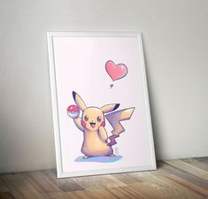 Pikachu Fan Art Print on Etsy! I totally want a print of this adorable little pikachu to put in my art room!!