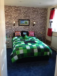 Unofficial Minecraft inspired bedding made by I'm in stitches on Facebook                                                                                                                                                     More