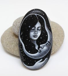 Crescent moon and girl, original surrealistic painting on stone. Unique painted rock as paper weight or table decor. Great gift for moon lovers!