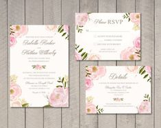 Floral Wedding Invitation RSVP Details Card Printable by