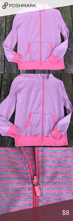 🎀FUC Gloria Vanderbilt Sport jersey jacket Fair used condition striped pink and gray with full zip. I showed the zipper to show it does have Wear from washing and drying. No stains no tears. Women's size medium. 57% cotton 39% polyester 4% spandex. Gloria Vanderbilt Jackets & Coats