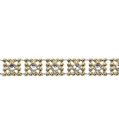 3/8'' Square Gold/Silver Clear Rhinesto Apparel Trim