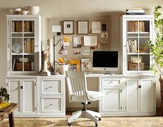 Logan Small Office Suite with Doors and Glass Towers, Antique White - Ideas for the House - Home Office Home Office Desks, Home Office Furniture, Home Office Design, Cheap Office Furniture, Home Office Decor, Furniture, House, Office Design, Home Decor