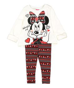 Look at this Cream & Red Fair Isle Minnie Sweatshirt & Leggings - Infant on #zulily today!