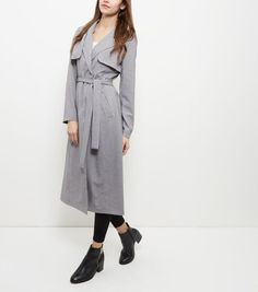 Grey Belted Longline Trench Coat  | New Look