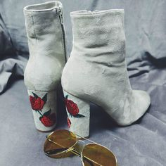 Roses Embroidered Chunky Heel Booties || ✧ LydiaRhiann