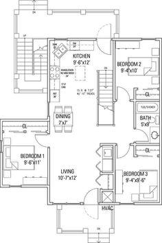 3 bedroom, Delaware Street Cohousing, 1000 square feet