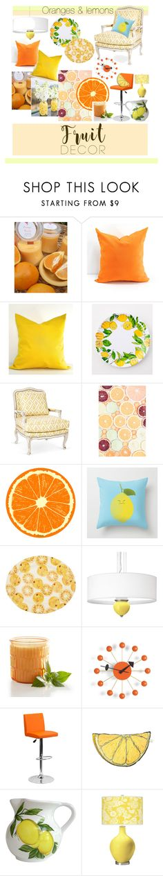 """Oranges & lemons"" by charisloves ❤ liked on Polyvore featuring interior, interiors, interior design, home, home decor, interior decorating, Emma Bridgewater, Pier 1 Imports, Vitra and Flash Furniture"