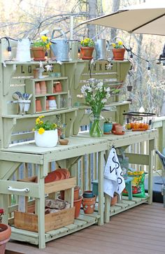 Homemade potting benches
