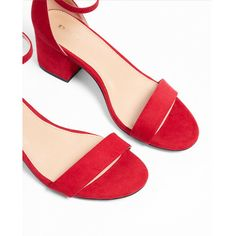 Express Low Block Heeled Sandals ($60) ❤ liked on Polyvore featuring shoes, sandals, red, express shoes, red sandals, express sandals, block heel shoes and sexy shoes