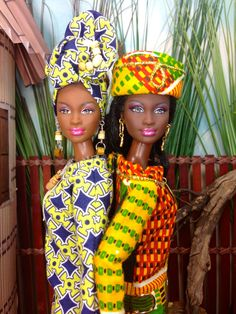 Barbie Doll Dress  African Inspired Kente Print Dress with