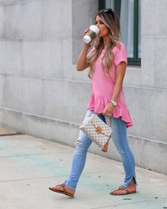 Styled Adventures: Casual Monday Style: Pink Ruffle Tee, Ripped Jeans, Louis Vuitton, Damier Azur, Tory Burch