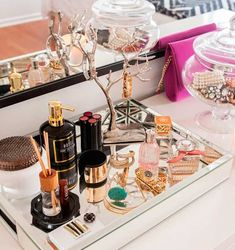 # make-up # beauty - Dekoration Selber Machen - Beauty - perfume West Elm, Makeup Storage, Makeup Organization, Makeup Tray, Vanity Table Organization, Perfume Organization, Perfume Storage, Dresser Storage, Cosmetic Storage