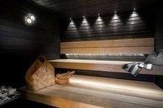 Traditional Finnish sauna with modern twist. Labor Junction / Home Improvement… Sauna Steam Room, Sauna Room, Saunas, Sauna Lights, Sauna House, Dry Sauna, Sauna Design, Finnish Sauna, Outdoor Sauna