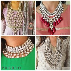Toughest decision we've had to make all day! Which one of these babies? ✨ #Love #Necklaces #Jewelry #Fashion #Indian #Prerto
