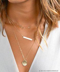 Schichtung Halsketten Set W. Goldbarren-Halskette, zarte einfache Layering Halskette, Sterling Silber Halskette, Bar Halskette [Satz - H430] geschichtet