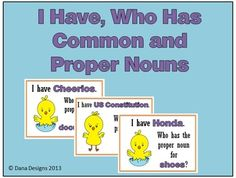 COMMON AND PROPER NOUNS - A quick class game to reinforce nouns. Includes 24 game cards, instructions, answer key, and variations for play.
