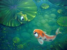 """Rob Kaz- """"Playing Koi"""" Giclee Canvas 30"""" by 48"""" Limited Edition Size 195"""