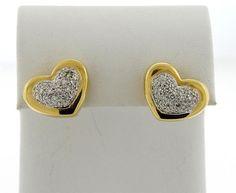 Omar Torres 18K Gold Diamond Heart Earrings