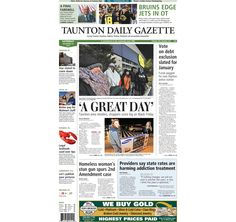 The front page of the Taunton Daily Gazette for Saturday, Nov. 29, 2014.