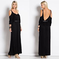 """X """"Embrace"""" Cold Shoulder Maxi Dress Cold shoulder long sleeve maxi dress. Casual meets stylish. Available in black and olive. This listing is for the BLACK. Belt not included. Brand new. Runs large. NO TRADES. Bare Anthology Dresses Maxi"""