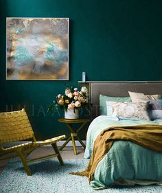 '' Gold and Turquoise Gold Leaf Print Ready to Hang Art Abstract Painting Large Wal. Deco Turquoise, Bedroom Turquoise, Gold Bedroom, Bedroom Green, Bedroom Art, Modern Bedroom, Dark Teal Bedroom, Emerald Bedroom, Bedroom Ideas