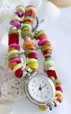 Beaded Watch Band and Watch www.jjewells.etsy.com $25.00