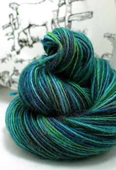 Handspun Yarn Thick and Thin Single Blue Faced by SheepingBeauty, $36.00