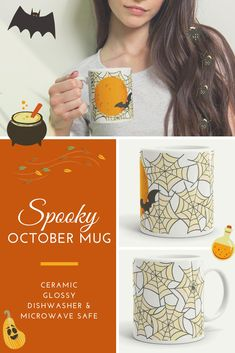 Spoopy and sweet, enjoy your morning brew or evening stew in this festive pastel mug! Sturdy and glossy with a vivid print, this mug is ceramic and will withstand the microwave and dishwasher. Sharpie Plates, Stew, Microwave, Dishwasher, Brewing, Festive, Ceramics, T Shirts For Women, Mugs