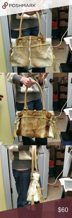 NWOT Fur Shoulder Purse Never used, 1 side zip and 2 pockets. Diane Gail Bags