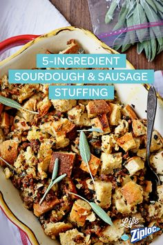 Yummy change-up to the average stuffing recipe! Loving this 5-Ingredient Sourdough & Sausage Stuffing recipe because you can make it outside the bird. Try this recipe for a weeknight meal and see if it makes the cut for your Thanksgiving dinner. Easy take with you in a Ziploc® holiday container!