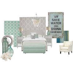 """Mint & Grey Bedroom"" by tora-gabriel on Polyvore"