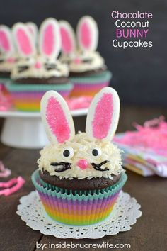 This easy to make bunny face makes these chocolate coconut cupcakes an adorable treat for Easter.  | #peeps #cupcakes #carrots  #Bunny #easter #recipe #dessert #treat #nyrockphotogirl
