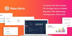 Matex admin - Material Bootstrap 4 Dashboard Template . Matex Admin PSD template is a premium admin dashboard template with the material design concept. It has a huge collection of reusable UI. It can be used for all type of web applications like custom admin panel, project management system, admin dashboard, application backend, SAAS, CMS or CRM