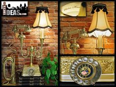 Repurposed French Telephone Vintage Inspired Gold Brass Champagne Pearl and Black Finish Chelsea House Upcycled Table Lamp by Loftyideas4u by Loftyideas4u on Etsy