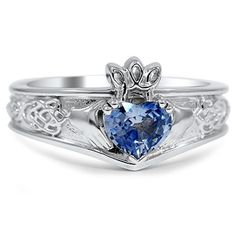 Celtic Inspired Claddagh Ring, top view