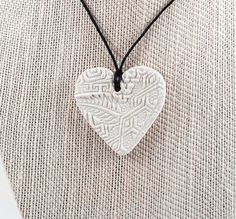 Lg Stamped Heart White Terracotta Clay Essential by HayleyHSITK