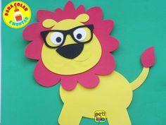 Leão com óculos EVA 40 cm - para colar e montar /POR UNIDADE