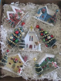 Items similar to 7 PIECES-Vintage Style Putz houses-A Wonderful Starter Set- 5 Houses 2 Decorated Trees on Etsy