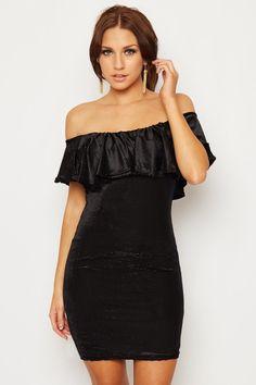 Tyisha Bardot Frill Mini Dress | WearAll Find this gorgeous item at https://www.wearall.com/