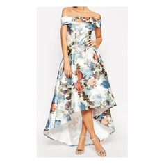 Off The Shoulder Florals High Low Dress ($42) ❤ liked on Polyvore featuring dresses, floral dress, hi lo dresses, white floral print dress, hi low dress and white hi low dress