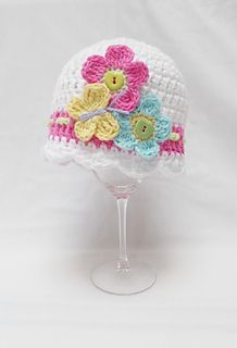 Flutterby Flowers Baby hat USA $3.95/pattern