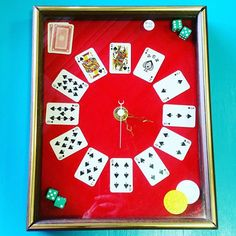 The Other Side Vintage ( Man Cave Upcycle, Poker Set, Chip Art, Square Art, Poker Chips, The Other Side, Dice, Clocks, Wall Decor