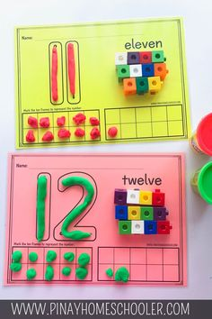 This learning pack includes 6 sets of number formation and hands-on counting activities from numbers and are perfect for younger kids learning to count and write numbers. Maths Eyfs, Numeracy Activities, Eyfs Classroom, Preschool Learning Activities, Kindergarten Activities, Math Games, Preschool Activities, Numbers For Kids, Numbers Preschool