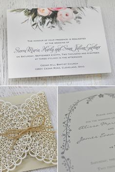 Boho floral and lace wedding invitations from Invitations by Dawn via Green Wedding Shoes. #bohowedding #flowerinvitations