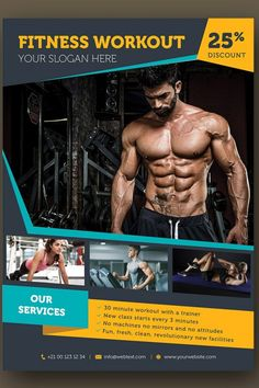 This Fitness Flyer Template is a great tool for promoting your Fitness & Gym, beauty center consultancy activity and sports clubs. Features: Size Bleed area Fully Editable Change Image CMYK / 300 dpi Customizable Text Easy to Customiz Radio Flyer, Flyer Dj, Party Flyer, Fitness Flyer, You Fitness, Blond Amsterdam, Ad Design, Flyer Design, Flyer Restaurant