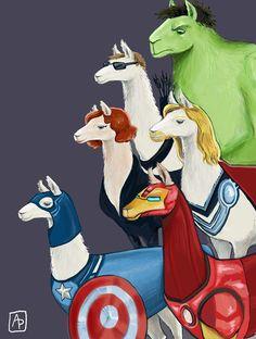 Age of Ultron - Avenger Llamas. Hulk llama, Captain America llama, Iron man llama, Thor, black widow ....all as llamas. you're welcome.