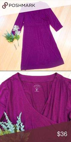 """ATHLETA dress, M. ATHLETA purple dress with a faux wrap front, sz medium. Excellent condition. Dress length is 40"""". Think about adding rich browns and colors for the fall! Athleta Dresses Midi"""