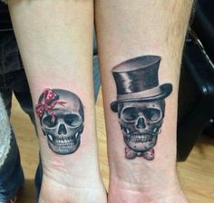 His and her skull tattoos